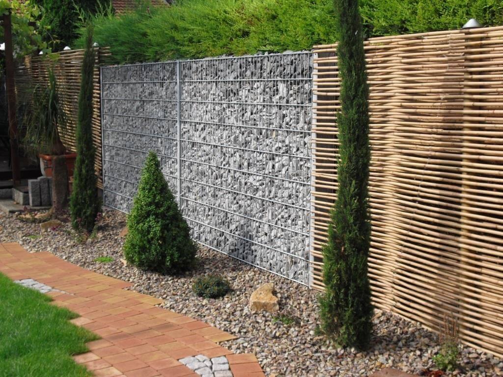 Bambus Sichtschutz Gabionen
